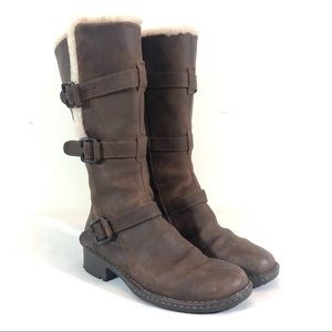 Born Shearling Lined Motorcycle Leather Boots 10